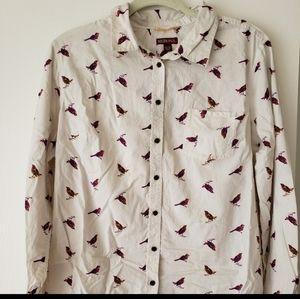 Bird Pattern Button Down Shirt